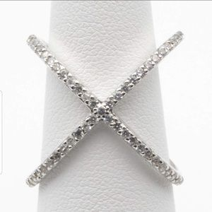 Jewelry - Sterling Silver Pave X Ring Sterling Silver